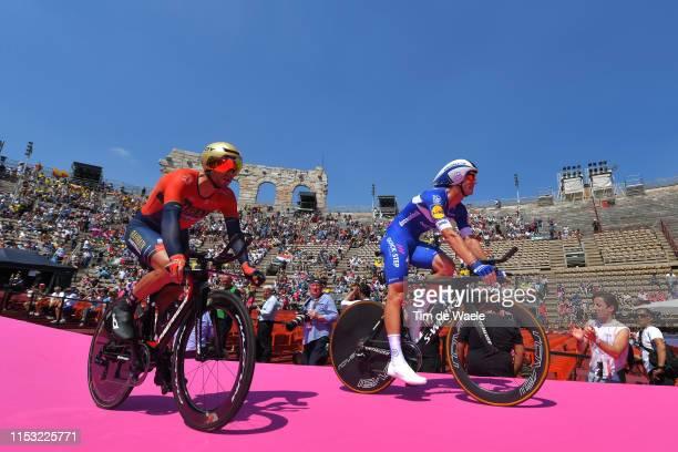 Start / Damiano Caruso of Italy and Team Bahrain Merida / Fabio Sabatini of Italy and Team Deceuninck QuickStep / during the 102nd Giro d'Italia 2019...