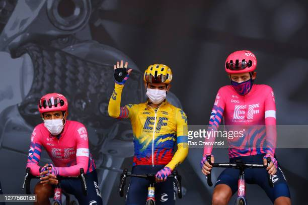 Start / Daniel Felipe Martinez Poveda of Colombia and Team EF Education First Pro Cycling / Sergio Andres Higuita Garcia of Colombia and Team EF...