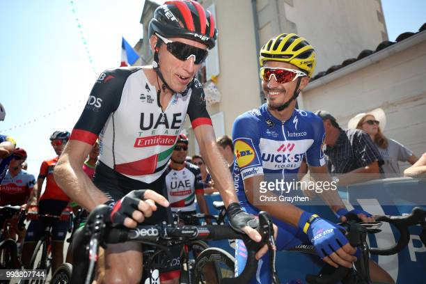 Start / Daniel Martin of Ireland and UAE Team Emirates / Julian Alaphilippe of France and Team QuickStep Floors / during the 105th Tour de France...