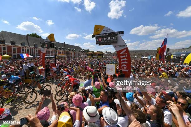 Start / Daniel Oss of Italy and Team Bora Hansgrohe / Arras Citadelle City / Landscape / Peloton / Fans / Public / during the 105th Tour de France...