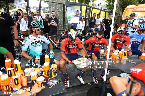 Start / Daniel Oss of Italy and Team Bora-Hansgrohe / Sonny Colbrelli of Italy and Team Bahrain-Merida / Damiano Caruso of Italy and Team...