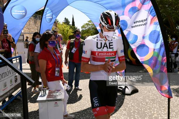 Start / David De la Cruz Melgarejo of Spain and UAE Team Emirates / Covid Safe measures / during the 42nd Vuelta a Burgos 2020, Stage 2 a 168km stage...