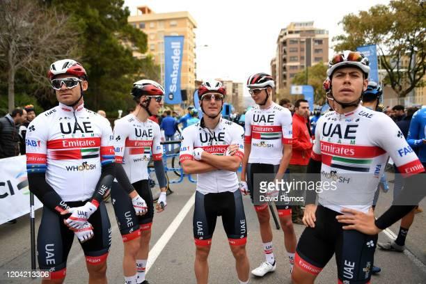 Start / David De La Cruz of Spain and UAE Team Emirates/ Alexander Kristoff of Norway and UAE Team Emirates/ Tadej Pogacar of Slovenia and UAE Team...