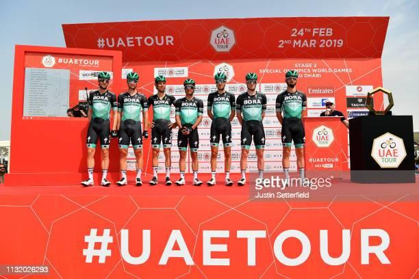 Start / Davide Formolo of Italy and Team BoraHansgrohe / Erik Baska of Slovakia and Team BoraHansgrohe / Sam Bennett of Ireland and Team...