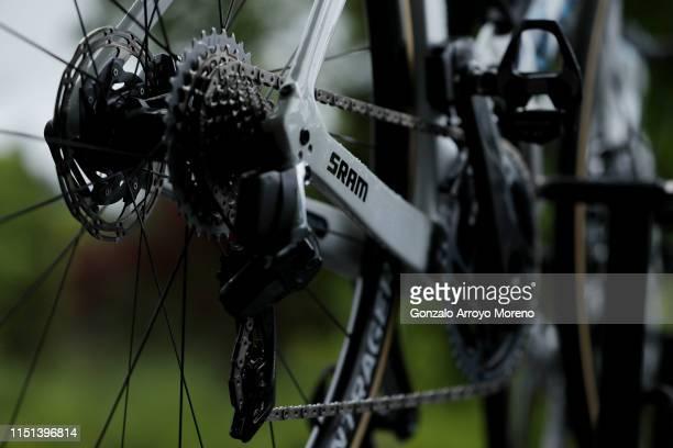 Start / Derailleur pulley / Chain / Cassete / SRAM Chainstays / Trek Bike / Detail view / during the 32nd Women WT Emakumeen. Bira 2019, Stage 3 a...
