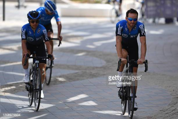 Start / Domenico Pozzovivo of Italy and NTT Pro Cycling Team / Danilo Wyss of Switzerland and NTT Pro Cycling Team / during the 6th UAE Tour 2020...
