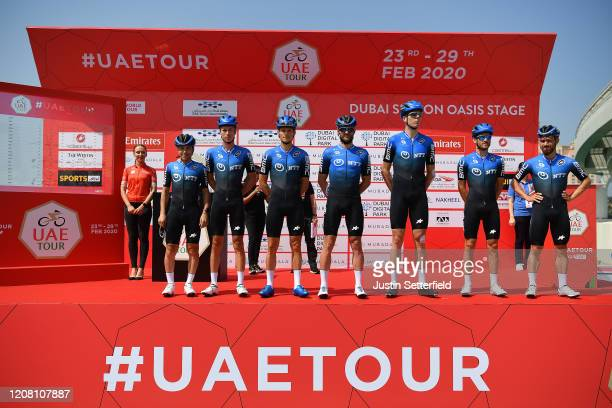Start / Domenico Pozzovivo of Italy and NTT Pro Cycling Team / Victor Campenaerts of Belgium and NTT Pro Cycling Team / Michael Carbel of Denmark and...