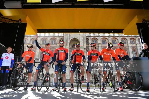 Start / Domenico Pozzovivo of Italy and Team Bahrain - Merida / Sonny Colbrelli of Italy and Team Bahrain - Merida / Ivan Garcia Cortina of Spain and...