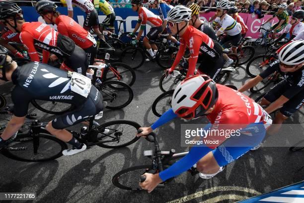 Start / Drew Christensen of New Zealand / Nikolas Riegler of Austria / Richmond City / Peloton / Fans / Public / during the 92nd UCI Road World...