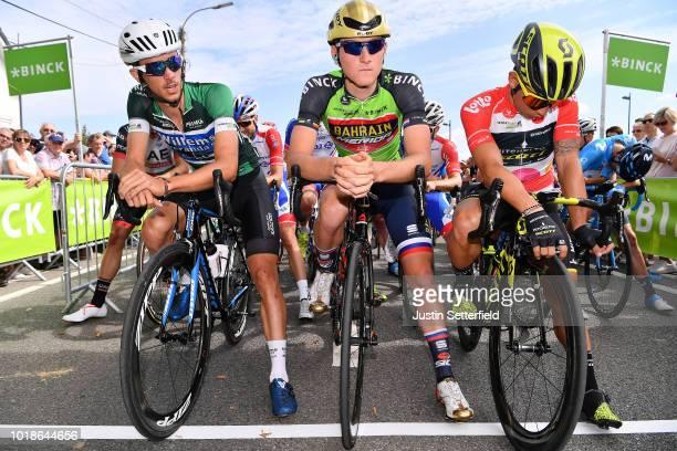 Start / Dries De Bondt of Belgium and Team Veranda's Willems-Crelan Green-Black Combativity Jersey / Matej Mohoric of Slovenia and Team Bahrain -...