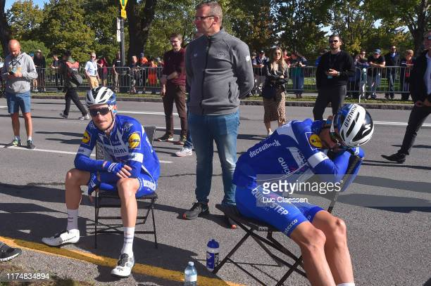 Start / Dries Devenyns of Belgium and Team Deceuninck Quick-Step / Julian Alaphilippe of France and Team Deceuninck Quick-Step / during the 10th...