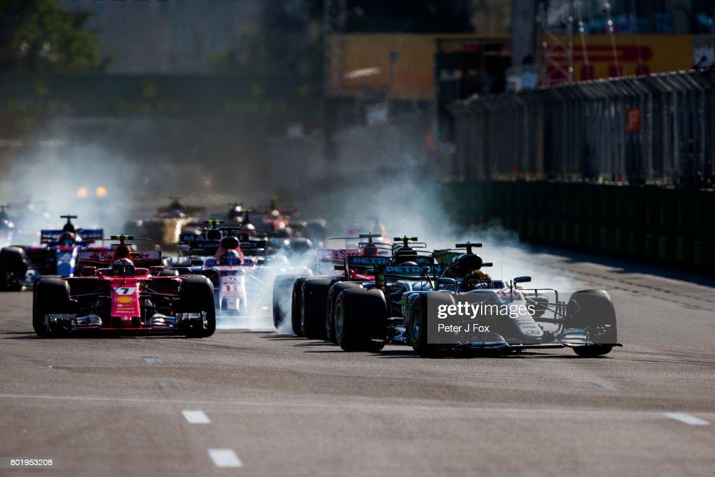 Start during the Azerbaijan Formula One Grand Prix at Baku City Circuit on June 25, 2017 in Baku, Azerbaijan.
