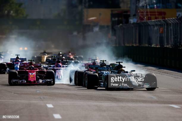 Start during the Azerbaijan Formula One Grand Prix at Baku City Circuit on June 25 2017 in Baku Azerbaijan