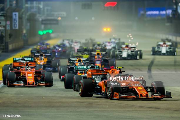 Start during the F1 Grand Prix of Singapore at Marina Bay Street Circuit on September 22, 2019 in Singapore.