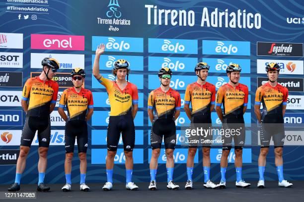 Start / Dylan Teuns of Belgium and Team Bahrain Mclaren / Phil Bauhaus of Germany and Team Bahrain Mclaren / Ivan Garcia Cortina of Spain and Team...