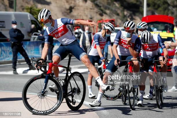 Start / Edward Theuns of Belgium & Jasper Stuyven of Belgium and Team Trek - Segafredo during the 79th Paris - Nice 2021, Stage 8 a 92,7km stage from...