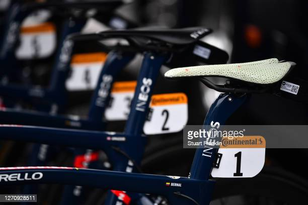 Start / Egan Arley Bernal Gomez of Colombia and Team INEOS Grenadiers White Best Young Jersey / Pinarello Bike / Saddle / Detail view / during the...