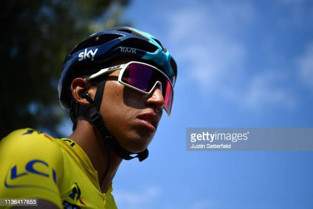 Start / Egan Arley Bernal of Colombia and Team Sky Yellow Leader Jersey / during the 77th Paris - Nice 2019, Stage 8 a 110km stage from Nice to Nice...