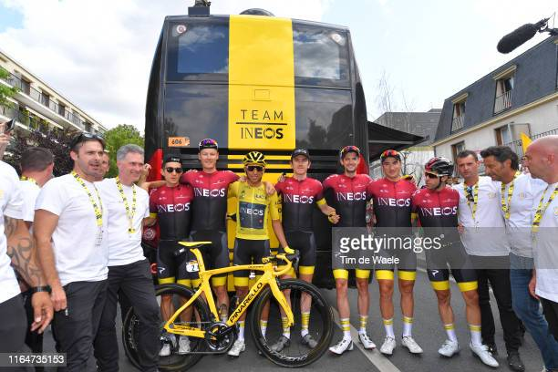 Start / Egan Bernal of Colombia and Team INEOS Yellow Leader Jersey / Geraint Thomas of United Kingdom and Team INEOS / Jonathan Castroviejo of Spain...