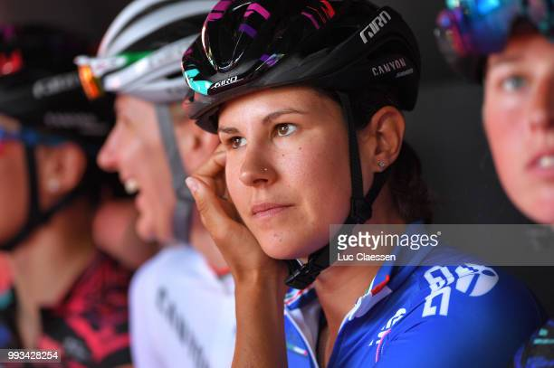 Start / Elena Cecchini of Italy and Team Canyon SRAM Racing Best Italian rider jersey / during the 29th Tour of Italy 2018 - Women, Stage 2 a 120,3km...