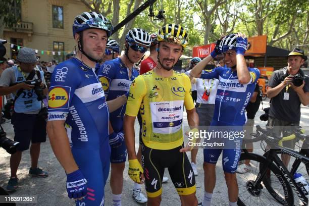 Start / Elia Viviani of Italy and Team Deceuninck QuickStep / Yves Lampaert of Belgium and Team Deceuninck QuickStep / Julian Alaphilippe of France...