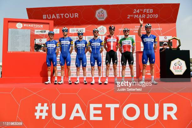 Start / Elia Viviani of Italy and Team Deceuninck-QuickStep / Dries Devenyns of Belgium and Team Deceuninck-QuickStep / Remco Evenepoel of Belgium...
