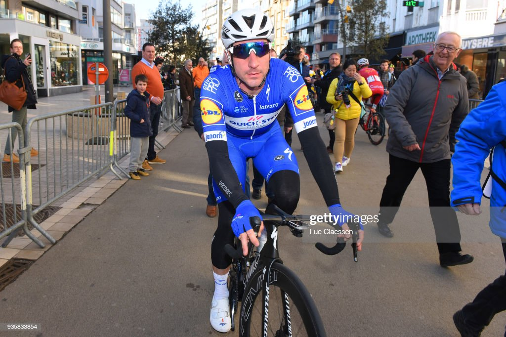 Start / Elia Viviani of Italy and Team Quick-Step Floors of Belgium / Public / Fans / during the 42nd 3 Days De Panne 2018 a 202,4km race from Brugge to De Panne on March 21, 2018 in De Panne, Belgium.