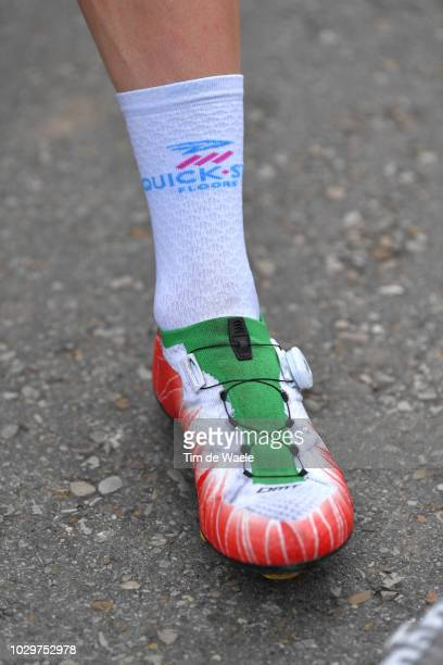 Start / Elia Viviani of Italy and Team QuickStep Floors / Tricolor Shoe / Detail view / during the 73rd Tour of Spain 2018 Stage 15 a 1782km stage...
