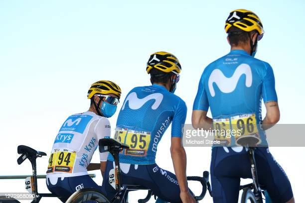 Start / Enric Mas Nicolau of Spain and Movistar Team White Best Young Jersey / Nelson Oliveira of Portugal and Movistar Team / Jose Joaquin Rojas Gil...