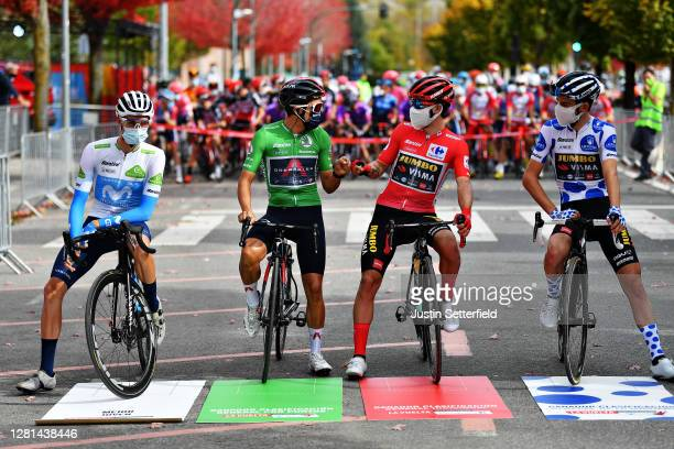 Start / Enric Mas Nicolau of Spain and Movistar Team White Best Young Jersey / Richard Carapaz of Ecuador and Team INEOS - Grenadiers Green Points...