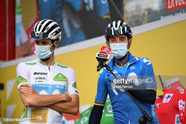 Start / Enric Mas Nicolau of Spain and Movistar Team White Best Young Rider Jersey / Alejandro Valverde Belmonte of Spain and Movistar Team / during...