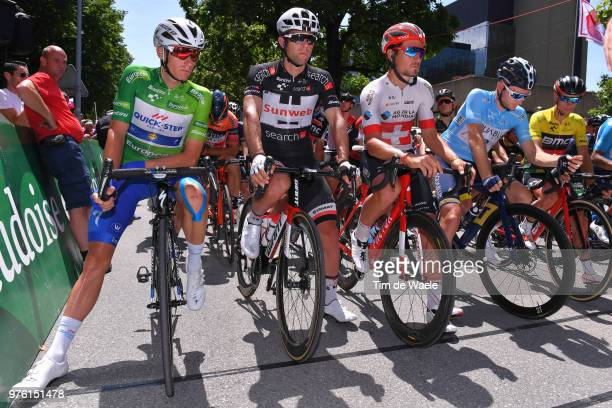 Start / Enric Mas of Spain and Team Quick-Step Floors Green Best Young Rider Jersey / Michael Matthews of Australia and Team Sunweb Black Points...
