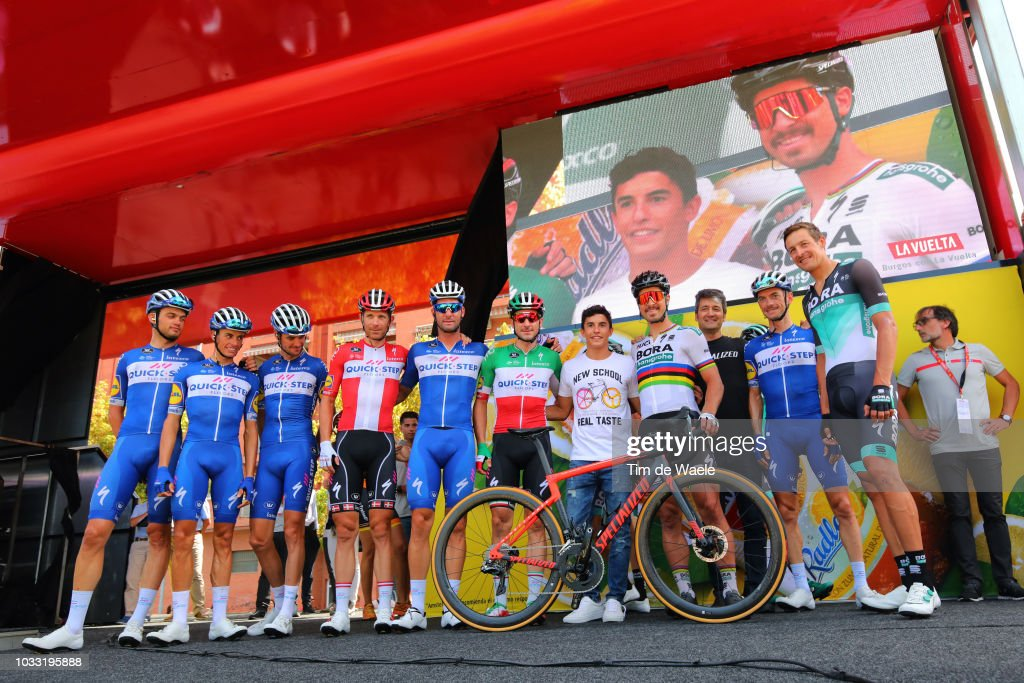 Start / Enric Mas of Spain and Team Quick-Step Floors / Kasper Asgreen of Denmarkand Team Quick-Step Floors / Elia Viviani of Italy and Team Quick-Step Floors / Pieter Serry of Belgium and Team Quick-Step Floors / Enric Mas of Spain and Team Quick-Step Floors / Fabio Sabatini of Italy and Team Quick-Step Floors / Dries Devenyns of Belgium and Team Quick-Step Floors / Michael Morkov of Denmark and Team Quick-Step Floors / Marc Marquez of Spain Grand Prix Motorcycle road racer / Peter Sagan of Slovakia and Team Bora - Hansgrohe / Marcus Burghardt of Germany and Team Bora - Hansgrohe / during the 73rd Tour of Spain 2018, Stage 19 a 154,4km stage from Lleida to Naturlandia - Coll De La Rabassa 2025m / La Vuelta / on September 14, 2018 in Naturlandia - Coll De La Rabassa, Andorra.
