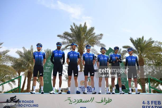 Start / Enrico Gasparotto of Switzerland and Team NTT Pro Cycling / Carlos Barbero of Spain and Team NTT Pro Cycling / Amanuel Gebreigzabhier of...