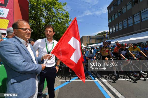 Start / Fabian Cancellara of Switzerland Ex procyclist / Kasper Asgreen of Denmark and Team Deceuninck QuickStep White Best Young Jersey / Claudio...
