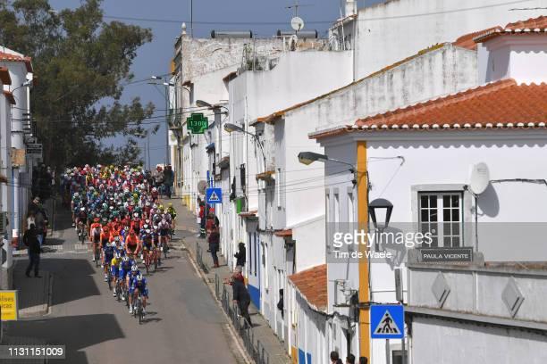 Start / Fabio Jakobsen of Netherlands and Team Deceuninck - Quick-Step Yellow Leader Jersey / Almodôvar City / Peloton / Landscape / Fans / during...