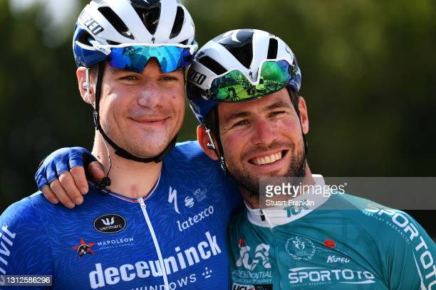 Start / Fabio Jakobsen of Netherlands & Mark Cavendish of United Kingdom and Team Deceuninck - Quick-Step Turquoise Leader Jersey during the 56th...