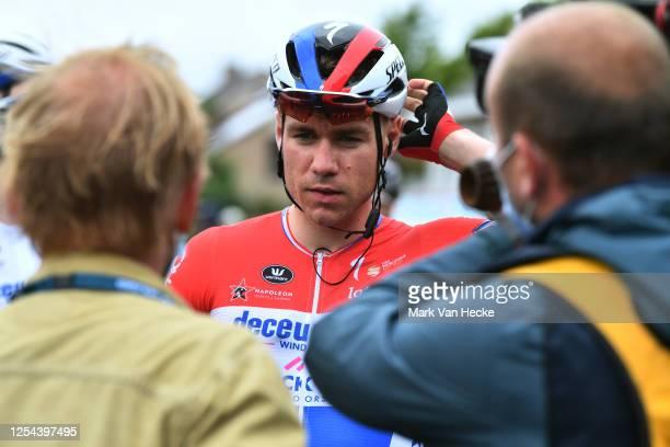 Start / Fabio Jakobsen of The Netherlands and Team Deceuninck - Quick-Step / Press / Media / during the 1st Grote Prijs Vermarc Sport - Rotselaar a...