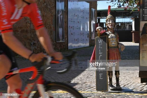 Start / Faro City / Roman Legionary / Detail view / during the 45th Volta ao Algarve Stage 5 a 1735km stage from Faro to Alto Do Malhão 518m Loulé /...