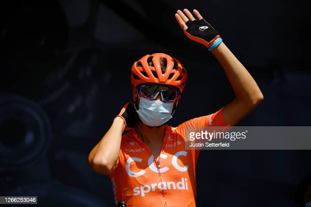 Start / Fausto Masnada of Italy and CCC Team / Covid safety measures / Team Presentation / during the 72nd Criterium du Dauphine 2020, Stage 3 a...