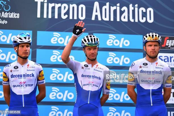 Start / Fausto Masnada of Italy and Team Deceuninck - Quick-Step / Iljo Keisse of Belgium and Team Deceuninck - Quick-Step / Bert Van Lerberghe of...