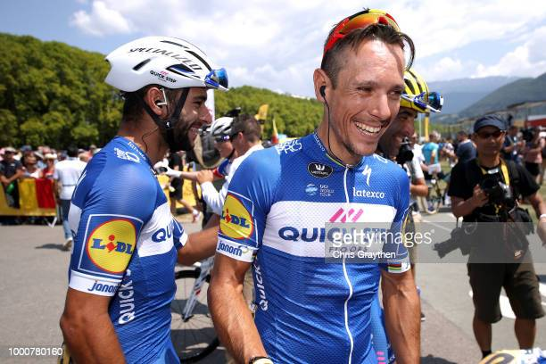 Start / Fernando Gaviria of Colombia and Team QuickStep Floors / Philippe Gilbert of Belgium and Team QuickStep Floors / during the 105th Tour de...