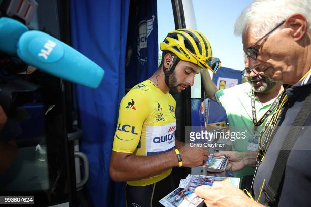 Start / Fernando Gaviria of Colombia and Team QuickStep Floors Yellow Leader Jersey during the 105th Tour de France 2018 Stage 2 a 1825km stage from...