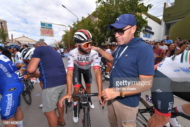 Start / Fernando Gaviria of Colombia and UAE Team Emirates / Giovanni Lombardi of Italy Riders Manager / during the 37th Tour of San Juan 2019 Stage...