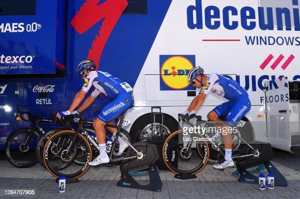 Start / Florian Senechal of France and Team Deceuninck - Quick-Step / Davide Ballerini of Italy and Team Deceuninck - Quick-Step / warm up / during...