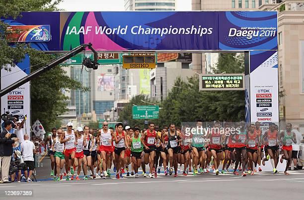 Start for the men's Marathon Final during day nine of 13th IAAF World Athletics Championships at Daegu Stadium on September 4 2011 in Daegu South...