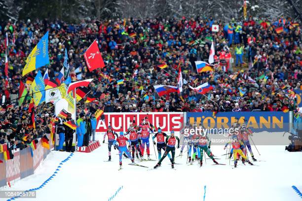 Start for the Women 4x6 km Relay during the IBU Biathlon World Cup at Chiemgau Arena on January 19, 2019 in Ruhpolding, Germany.