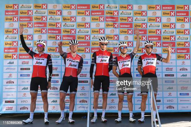 Start / Fumiyuki Beppu of Japan and Team TrekSegafredo / Koen De Kort of The Netherlands and Team TrekSegafredo / Alex Frame of New Zealand and Team...