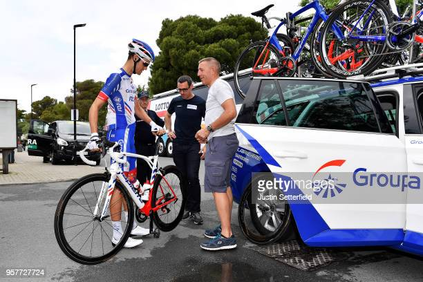 Start / Georg Preidler of Austria and Team GroupamaFDJ / Car / during the 101th Tour of Italy 2018 Stage 8 a 209km stage from Praia a Mare to...