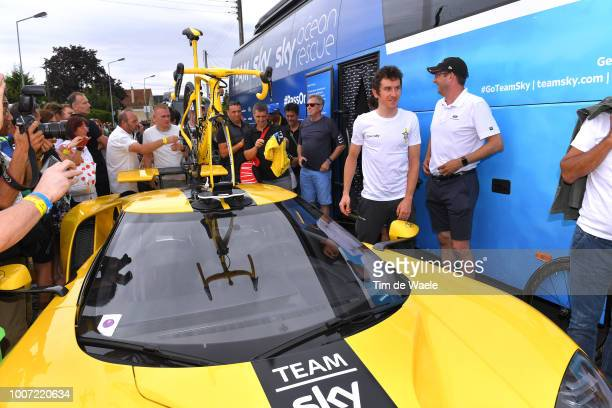 Start / Geraint Thomas of Great Britain and Team Sky Yellow Leader Jersey / Pinarello Yellow Bike / Team Sky Yellow Ford GT / Car / during the 105th...